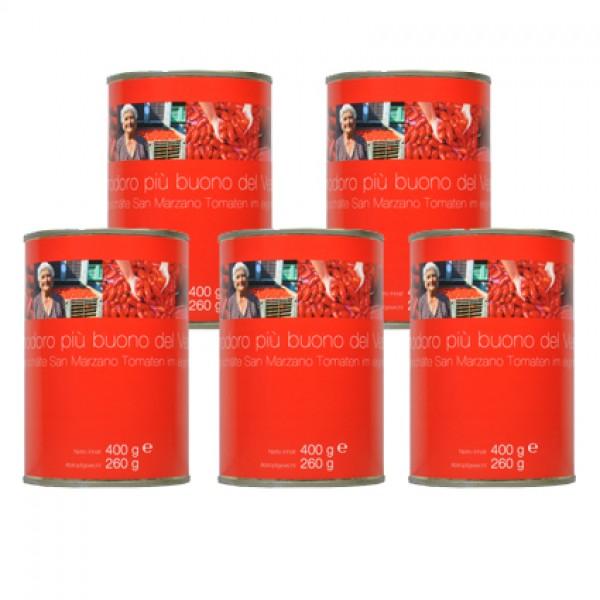 Ganze, geschälte San Marzano Tomaten im 5er Set